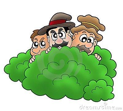Cartoon-robbers-behind-bush-thumb10136574